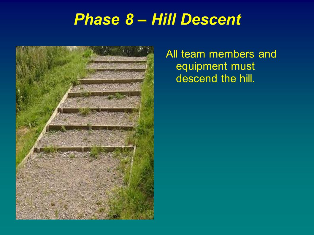 Phase 8 – Hill Descent All team members and equipment must descend the hill.