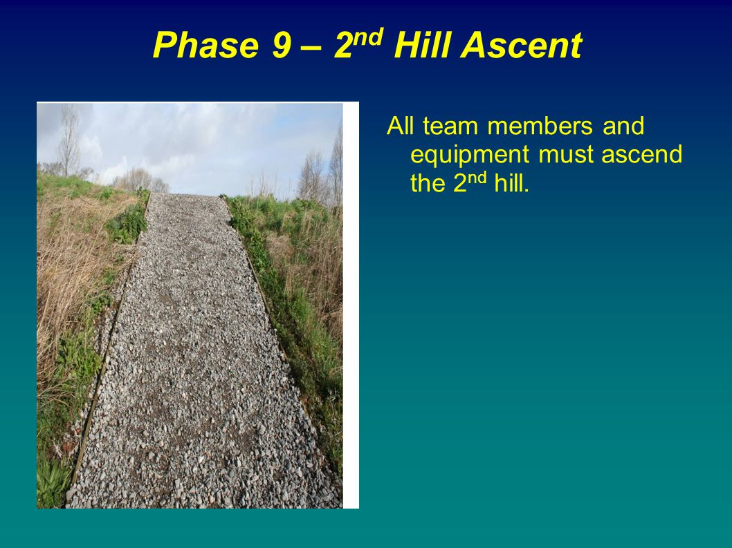 Phase 9 – 2nd Hill Ascent All team members and equipment must ascend the 2nd hill.