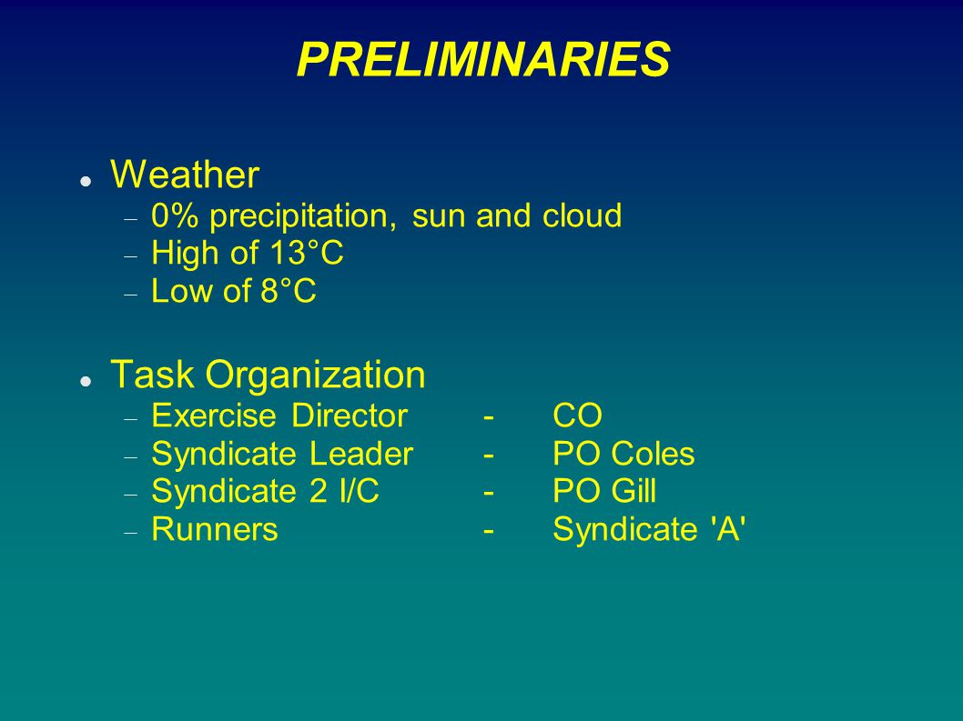 PRELIMINARIES Weather Task Organization
