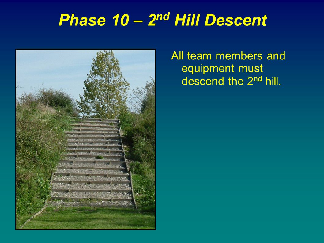 Phase 10 – 2nd Hill Descent All team members and equipment must descend the 2nd hill.
