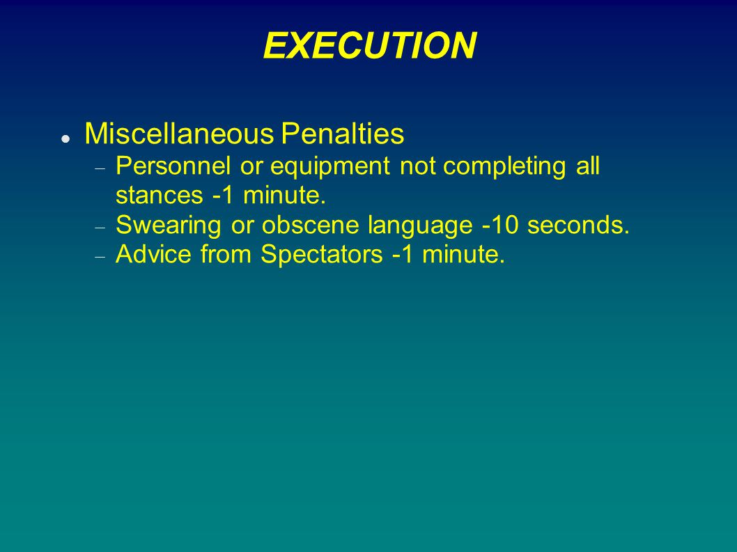 EXECUTION Miscellaneous Penalties