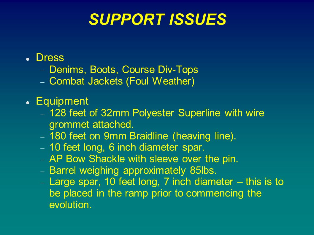 SUPPORT ISSUES Dress Equipment Denims, Boots, Course Div-Tops