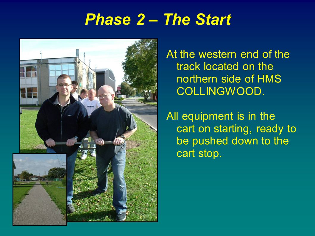 Phase 2 – The Start At the western end of the track located on the northern side of HMS COLLINGWOOD.