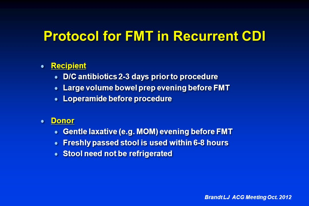 Protocol for FMT in Recurrent CDI