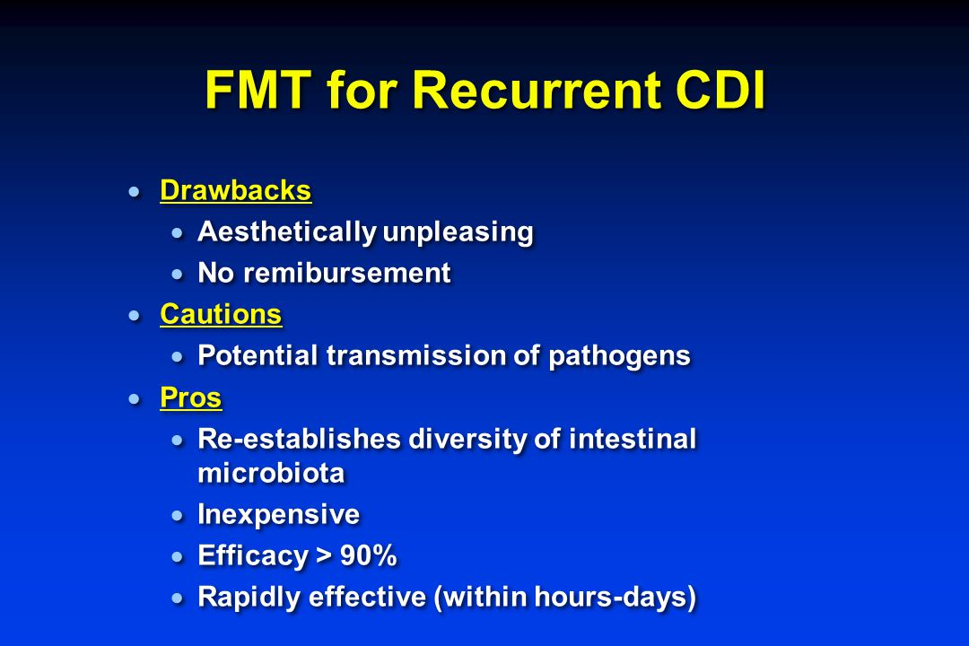 FMT for Recurrent CDI Drawbacks Aesthetically unpleasing