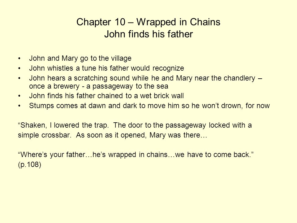 Chapter 10 – Wrapped in Chains John finds his father