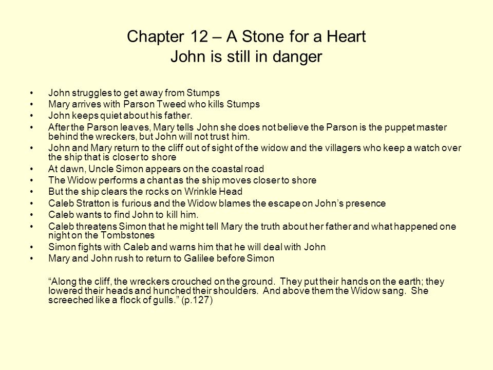 Chapter 12 – A Stone for a Heart John is still in danger