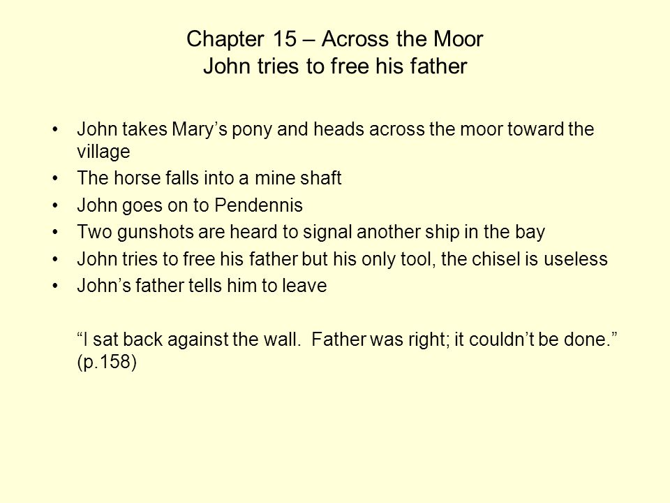 Chapter 15 – Across the Moor John tries to free his father