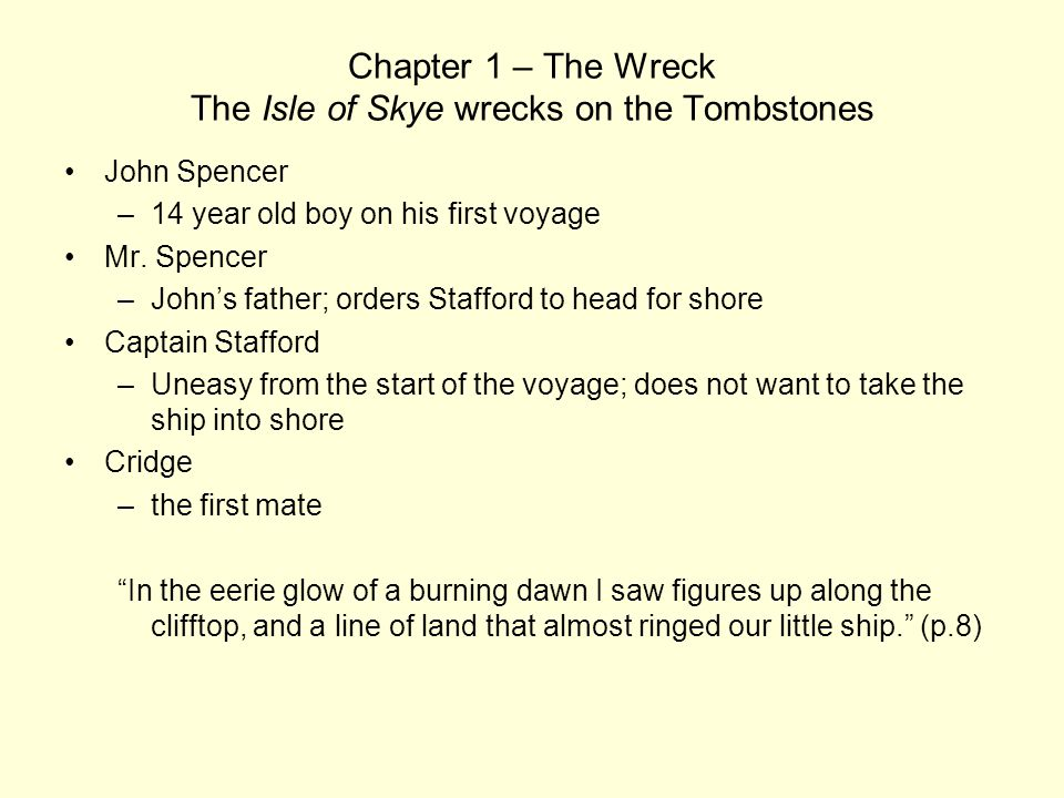 Chapter 1 – The Wreck The Isle of Skye wrecks on the Tombstones