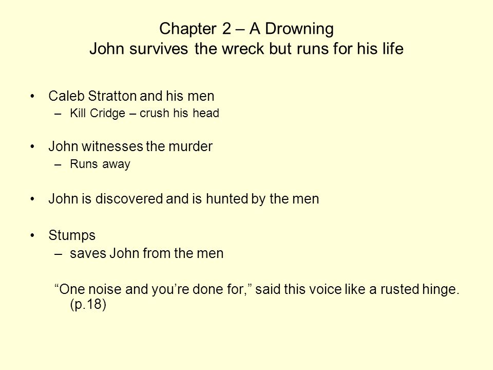 Chapter 2 – A Drowning John survives the wreck but runs for his life