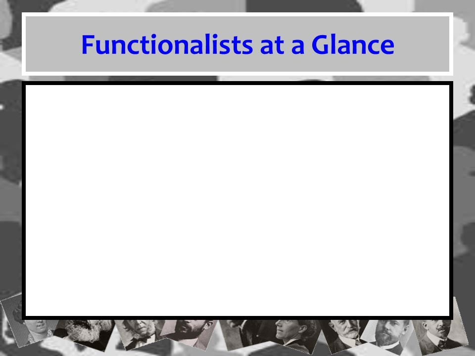 Functionalists at a Glance