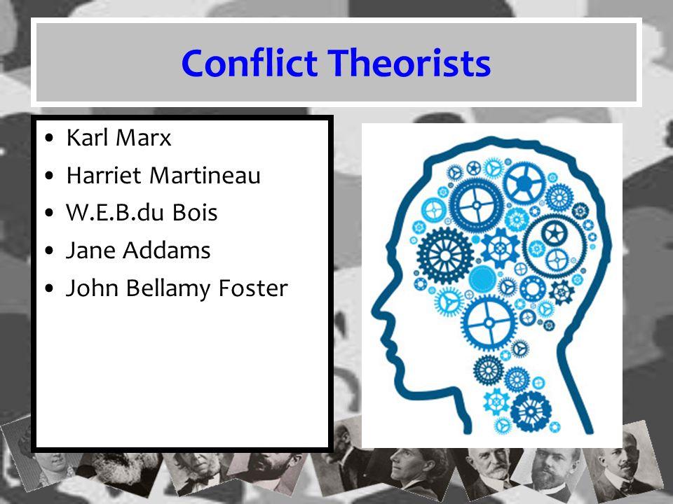 Conflict Theorists Karl Marx Harriet Martineau W.E.B.du Bois