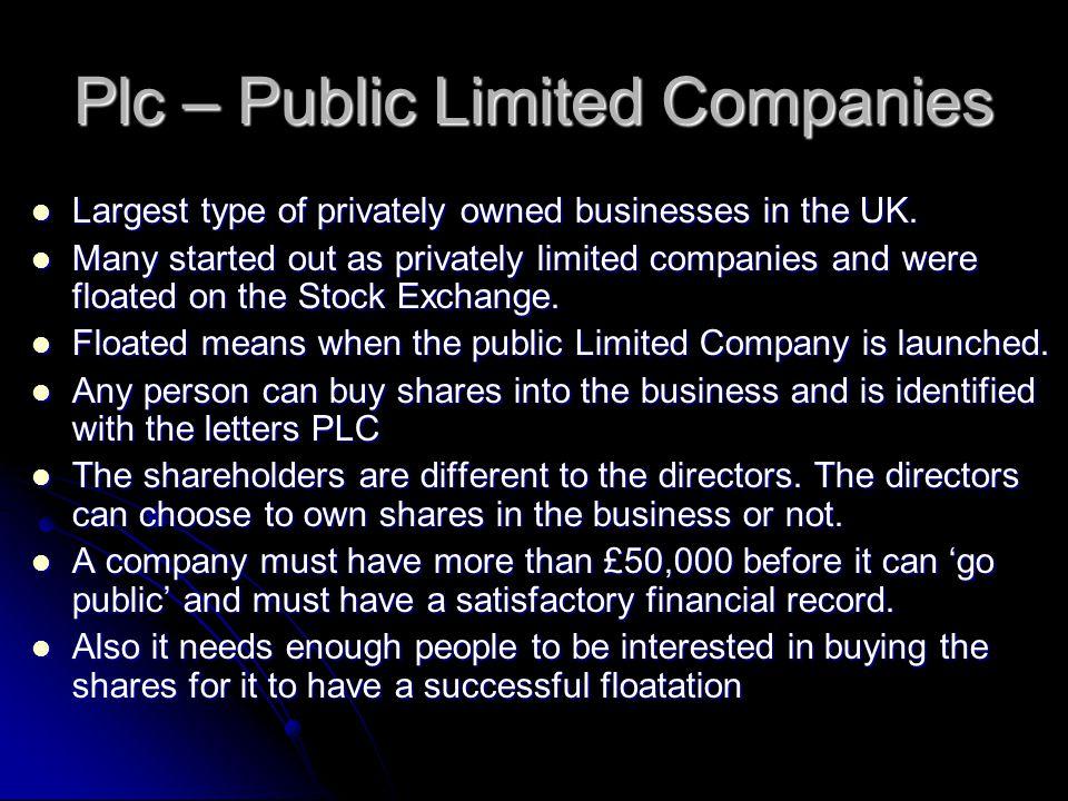Plc – Public Limited Companies
