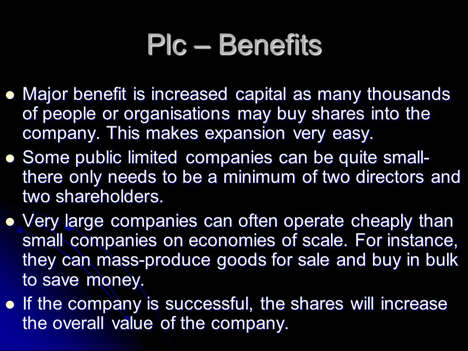 Plc – Benefits