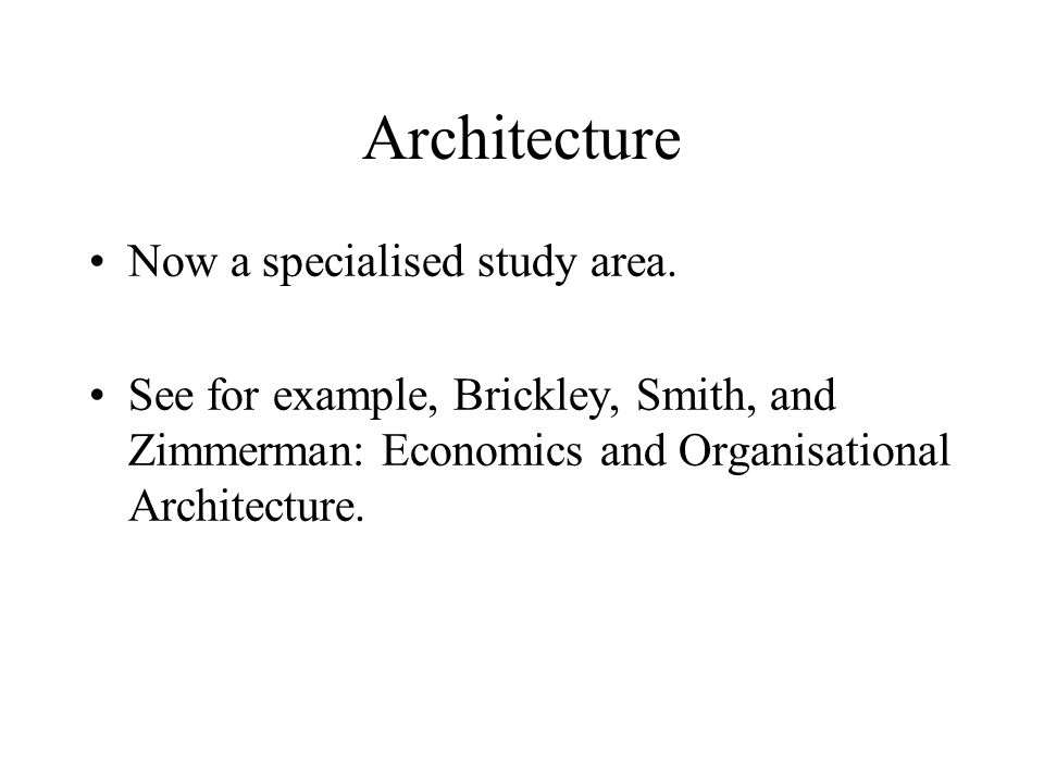 Architecture Now a specialised study area.