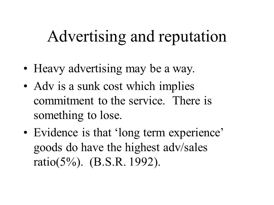 Advertising and reputation