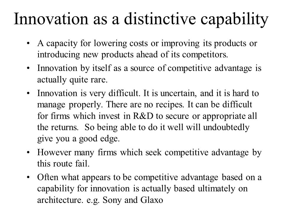 Innovation as a distinctive capability