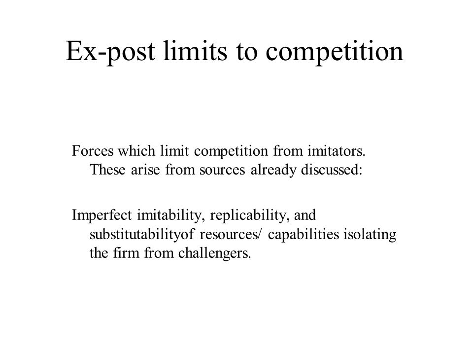 Ex-post limits to competition
