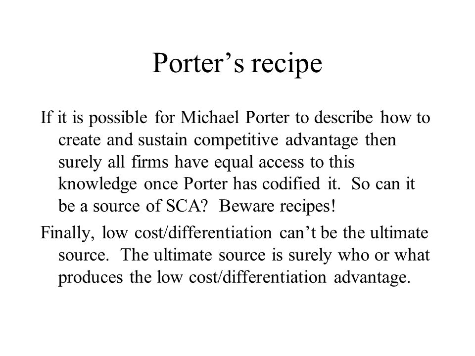 Porter's recipe