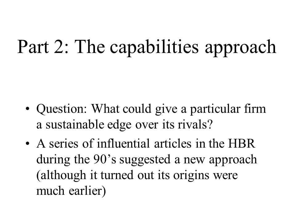 Part 2: The capabilities approach