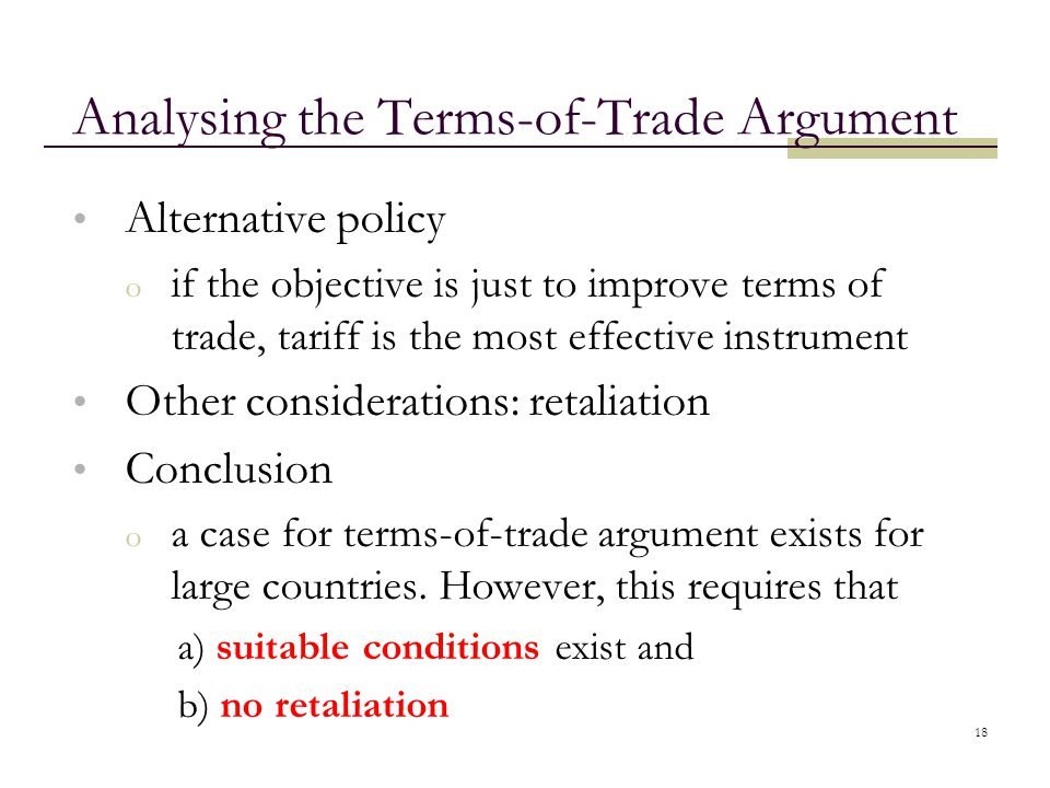 Analysing the Terms-of-Trade Argument