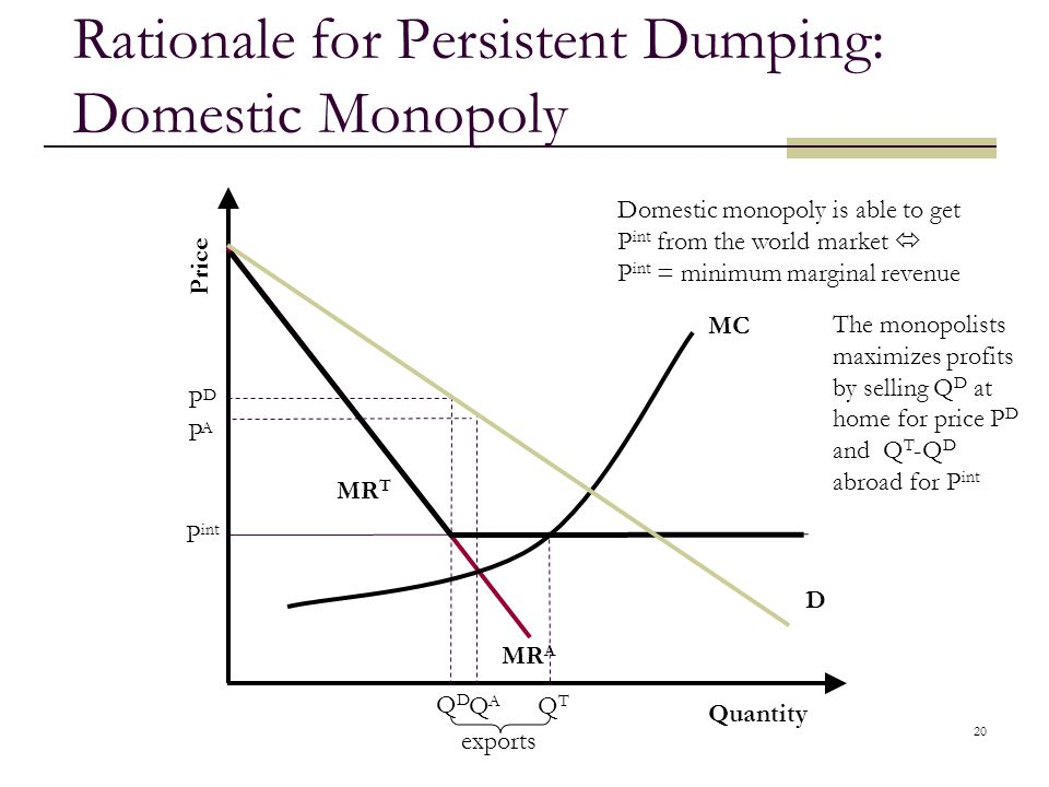 Rationale for Persistent Dumping: Domestic Monopoly