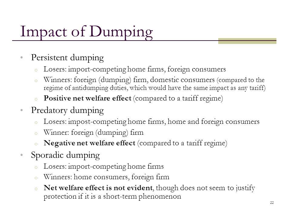 Impact of Dumping Persistent dumping Predatory dumping