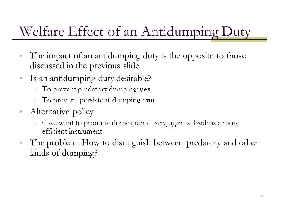 Welfare Effect of an Antidumping Duty