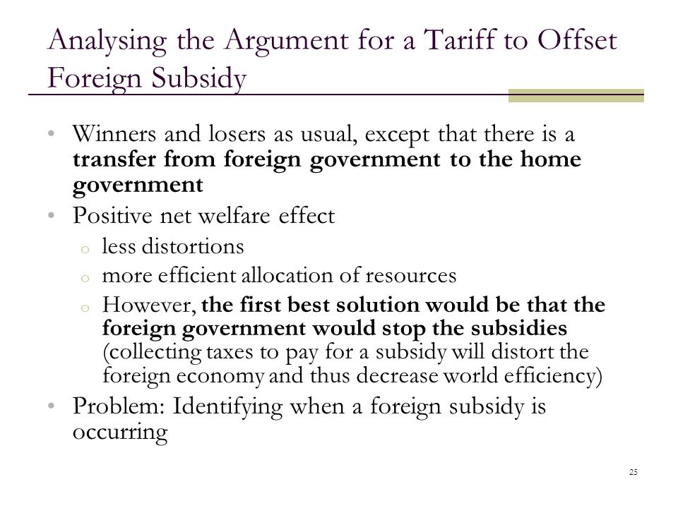 Analysing the Argument for a Tariff to Offset Foreign Subsidy