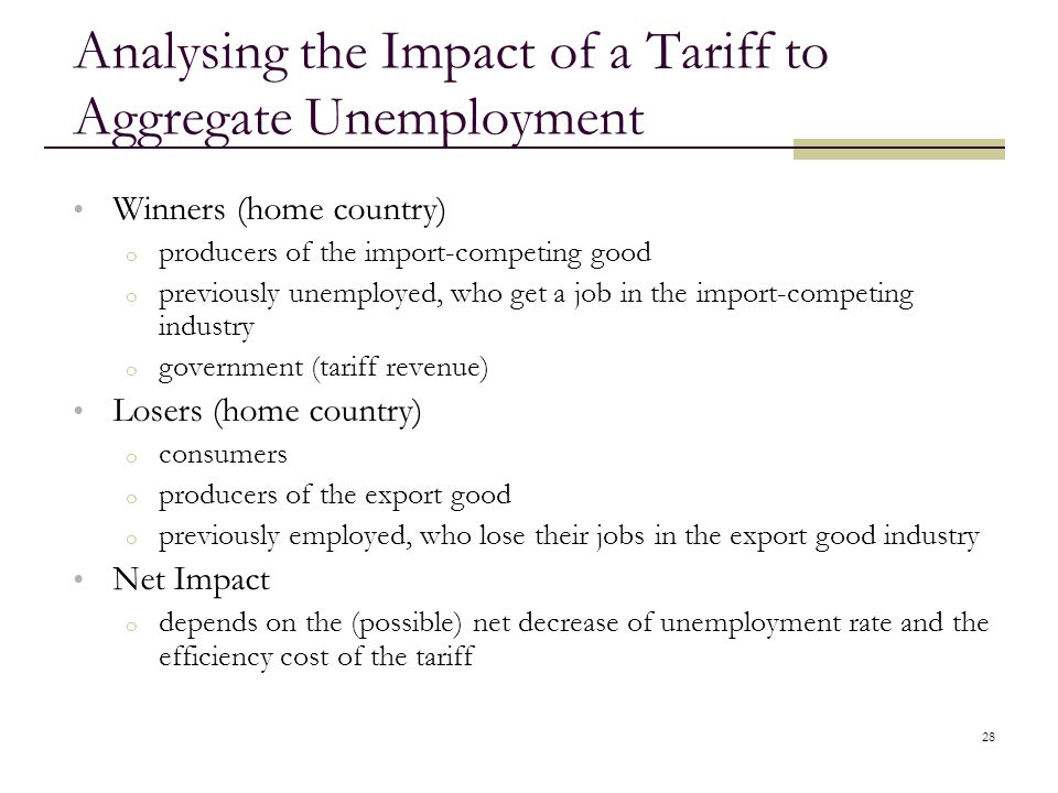 Analysing the Impact of a Tariff to Aggregate Unemployment