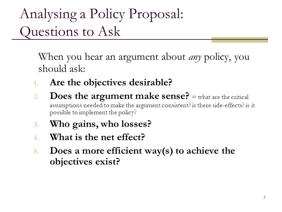 Analysing a Policy Proposal: Questions to Ask