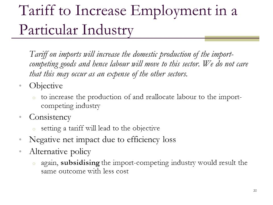 Tariff to Increase Employment in a Particular Industry