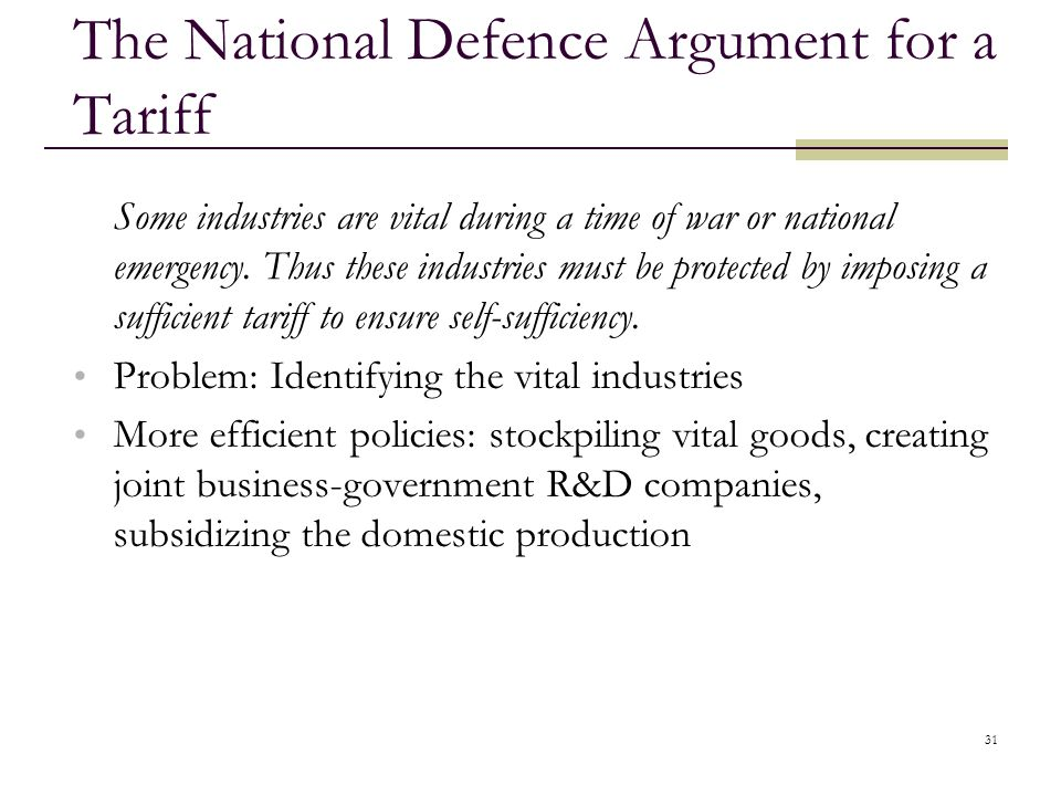 The National Defence Argument for a Tariff