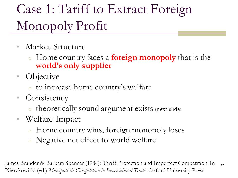 Case 1: Tariff to Extract Foreign Monopoly Profit