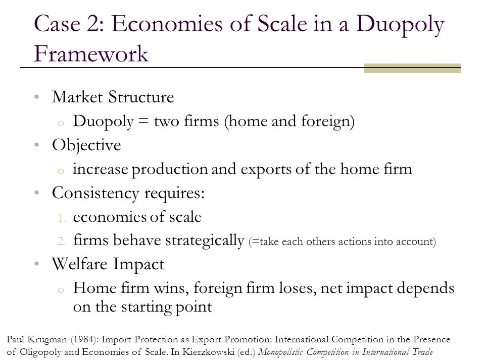 Case 2: Economies of Scale in a Duopoly Framework