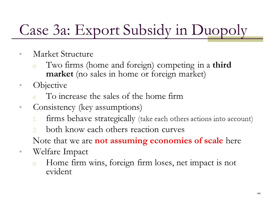 Case 3a: Export Subsidy in Duopoly