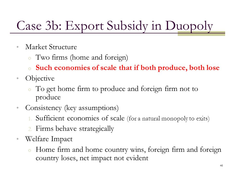 Case 3b: Export Subsidy in Duopoly