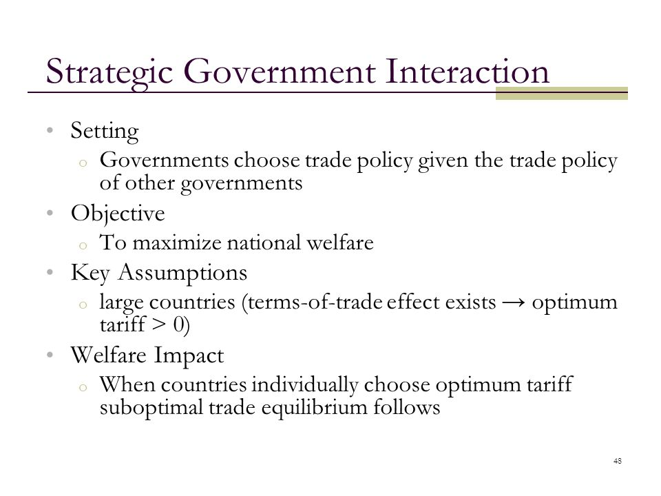 Strategic Government Interaction