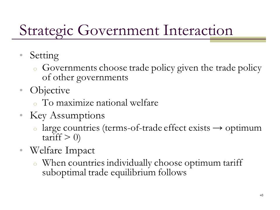 Strategic Government Interaction