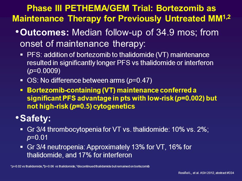 Phase III PETHEMA/GEM Trial: Bortezomib as Maintenance Therapy for Previously Untreated MM1,2