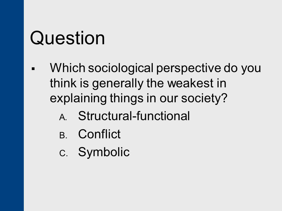 Question Which sociological perspective do you think is generally the weakest in explaining things in our society