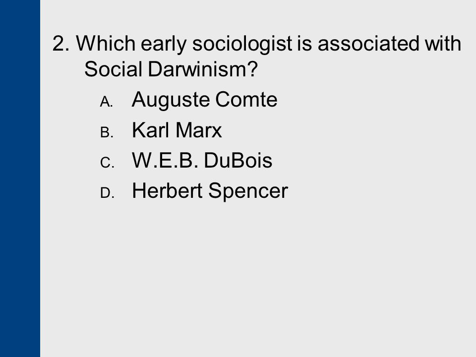 2. Which early sociologist is associated with Social Darwinism