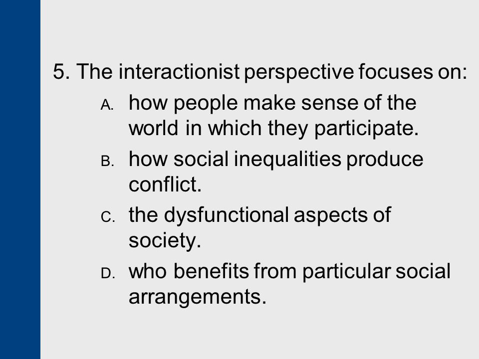 5. The interactionist perspective focuses on: