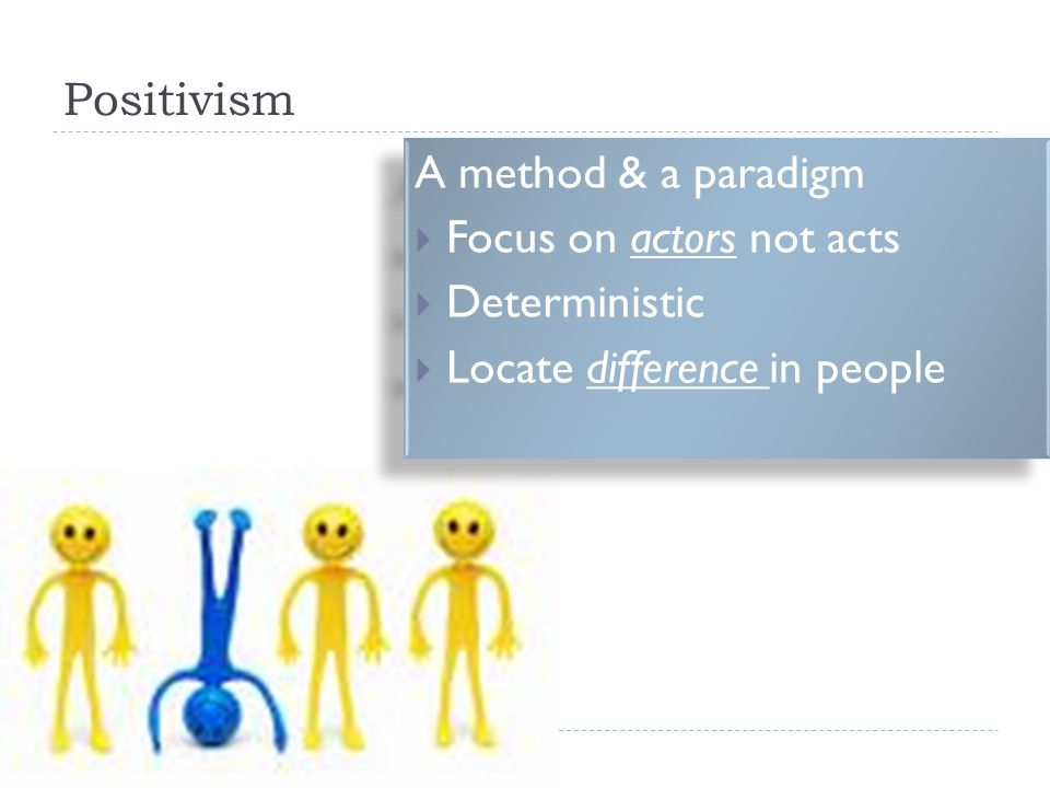 Positivism A method & a paradigm Focus on actors not acts Deterministic Locate difference in people