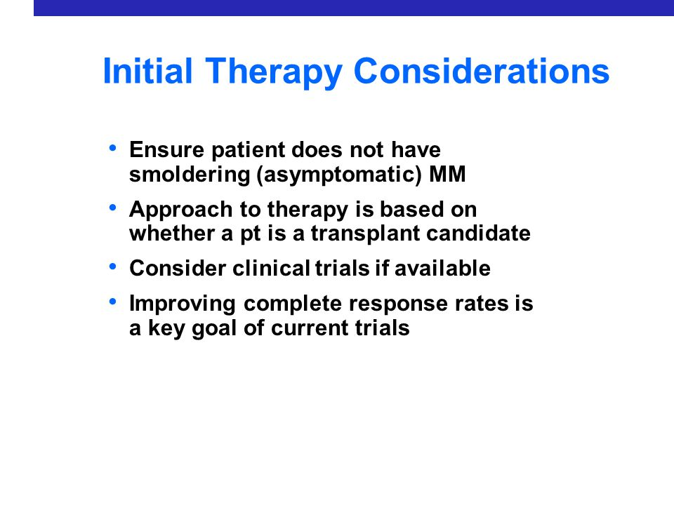 Initial Therapy Considerations