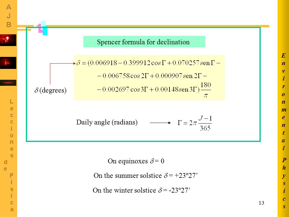 Spencer formula for declination