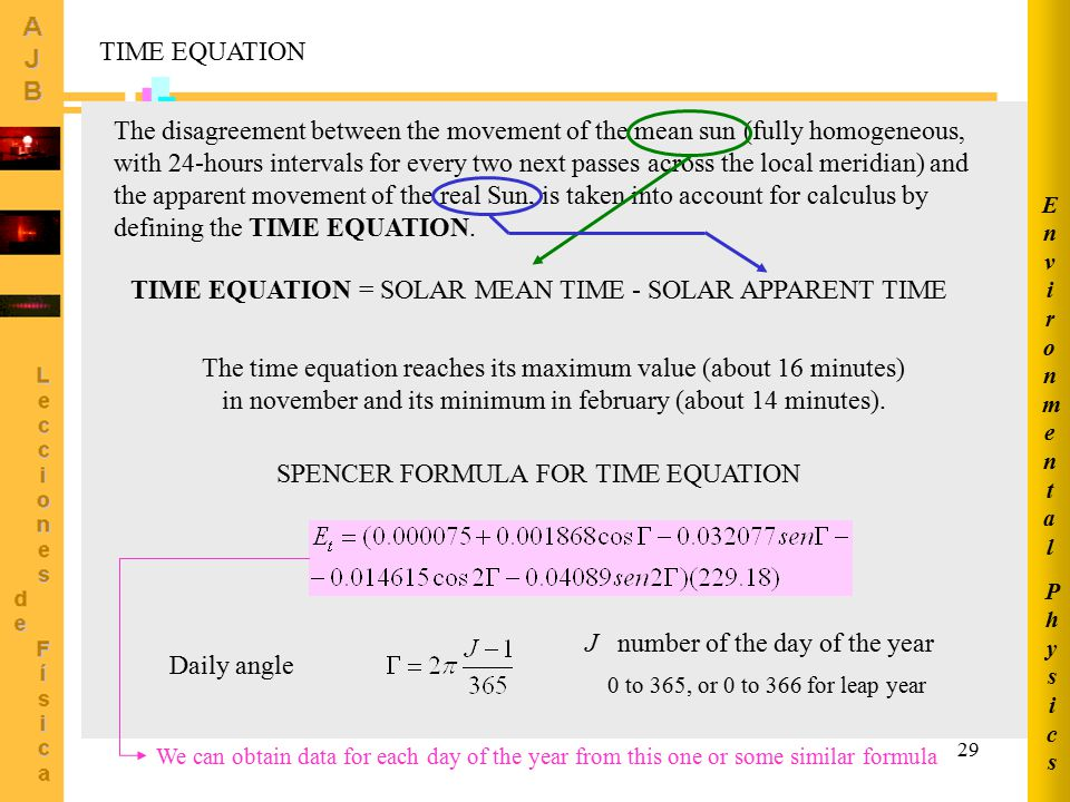 TIME EQUATION = SOLAR MEAN TIME - SOLAR APPARENT TIME