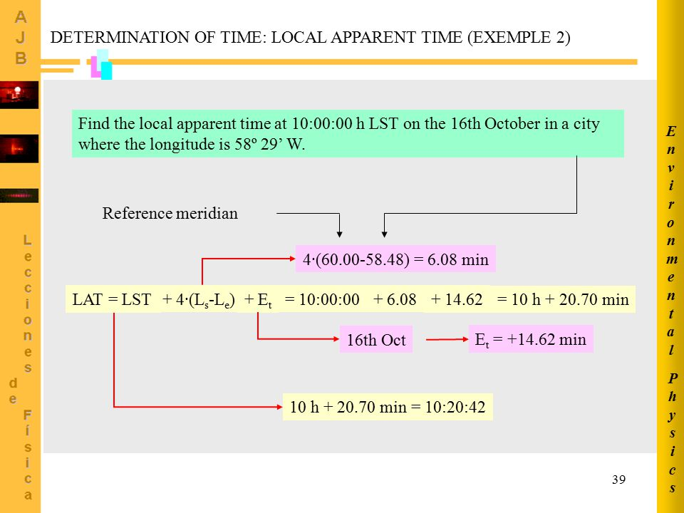 DETERMINATION OF TIME: LOCAL APPARENT TIME (EXEMPLE 2)
