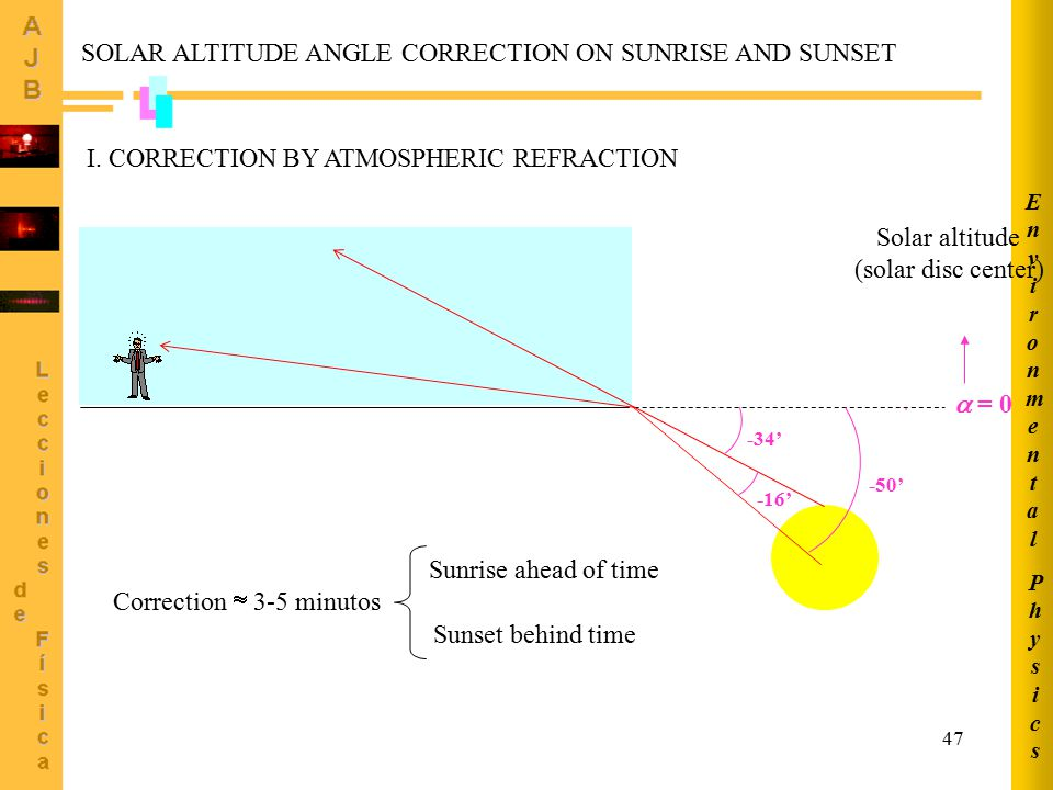 SOLAR ALTITUDE ANGLE CORRECTION ON SUNRISE AND SUNSET