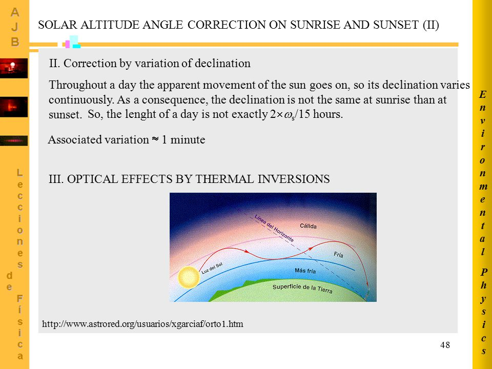SOLAR ALTITUDE ANGLE CORRECTION ON SUNRISE AND SUNSET (II)
